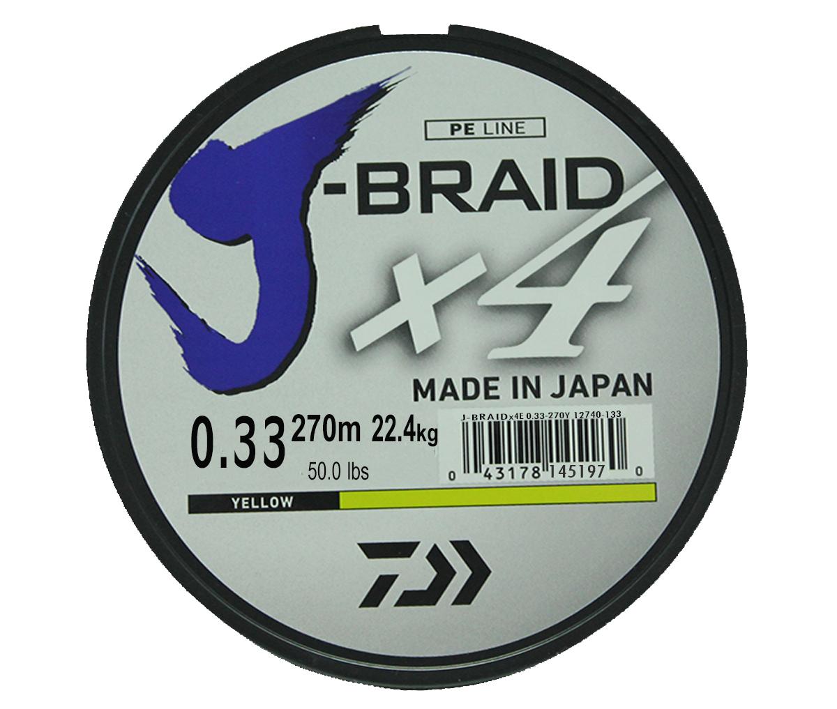 Леска плетеная DAIWA J-Braid X4 0,33мм 270 (флуор.-желтая)Леска плетеная<br>Новый 4х жильный шнур J-Braid, DAIWA - шнур высокого <br>класса с удивительным соотношением цены <br>и качества. Качество плетения полностью <br>соответствует японским стандартам и удовлетворяет <br>всем требованиям. Представленные диаметры <br>позволяют использовать шнур для всех техник <br>ловли, начиная от ultra- light ловли окуня, до <br>морской ловли палтуса, трески и т.д.<br>