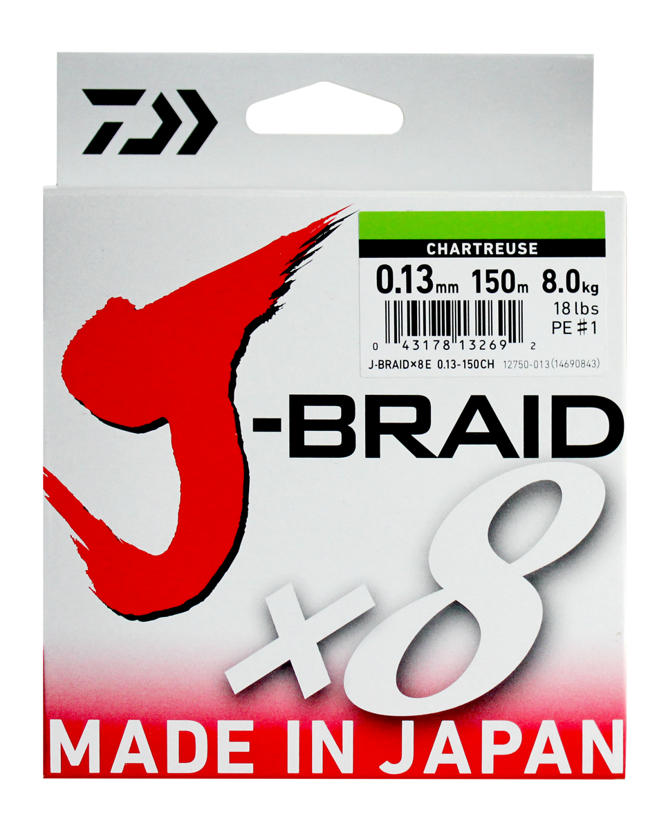 Леска плетеная DAIWA J-Braid X8 0,13мм 300м (флуор.-желтая)Леска плетеная<br>Новый J-Braid от DAIWA - исключительный шнур с <br>плетением в 8 нитей. Он полностью удовлетворяет <br>всем требованиям. предьявляемым высококачественным <br>плетеным шнурам. Неважно, собрались ли вы <br>ловить крупных морских хищников, как палтус, <br>треска или спйда, или окуня и судака, с вашим <br>новым J-Braid вы всегда контролируете рыбу. <br>J-Braid предлагает соответствующий диаметр <br>для любых техник ловли: море, река или озеро <br>- невероятно прочный и надежный. J-Braid скользит <br>через кольца, обеспечивая дальний и точный <br>заброс даже самых легких приманок. Идеален <br>для спиннинговых и бейткастинговых катушек! <br>Невероятное соотношение цены и качества! <br>-Плетение 8 нитей -Круглое сечение -Высокая <br>прочность на разрыв -Высокая износостойкость <br>-Не растягивается -Сделан в Японии<br>