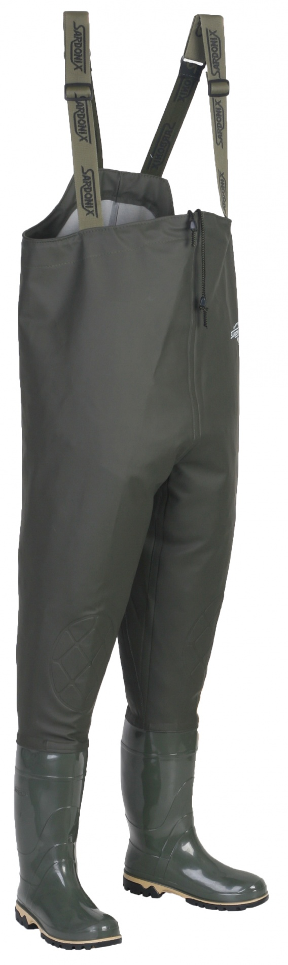 Полукомбинезон ПВХ (SARDONIX), рыбацкий оливковый Полукомбинезоны рыбацкие<br>Верх рыбацкого полукомбенизо изготовлен <br>из винитола, обладающего высокой прочностью, <br>износостойкостью и эалстичностью. Винитол <br>герметично соединен с коротким сапогом, <br>что позволяет носить его поверх верхней <br>одежды. Низ галоши выполнен методом трехкомпонентного <br>литья с применением третьего дополнительного <br>промежуточного слоя подошвы из вспененного <br>ПВХ, что придает обуви высокие амортизационные, <br>теплозащитные, антистатические и противоскользящие <br>свойства.<br><br>Пол: мужской<br>Размер: 44(285)<br>Сезон: лето<br>Цвет: оливковый