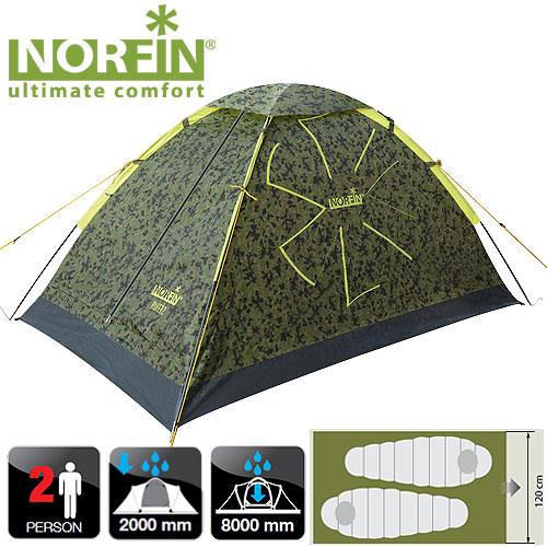 Палатка 2-Х Местная Norfin Ruffe 2 NcПалатки<br>Однослойная дуговая палатка Norfin Ruffe 2 отлично <br>подойдет для недолгих походов и отдыха <br>на природе. Очень легкая и компактная. Все <br>швы палатки герметизированы. Особенности: <br>- один вход продублированный антимоскитной <br>сеткой; - карман для мелочей; - крючок для <br>подвески фонаря. Характеристики: - размер <br>наружной палатки 200x120x100 см; - размер в сложенном <br>виде 50x12 см; - материал внутренней палатки <br>190T breathable polyester; - материал дна/ влагостойкость <br>(мм H2O) PE 120g/m2 / 8000; - материал каркаса FG; - количество <br>дуг(стоек)/диаметр (мм) 2/8; - колышки из стали.<br><br>Сезон: лето<br>Цвет: зеленый