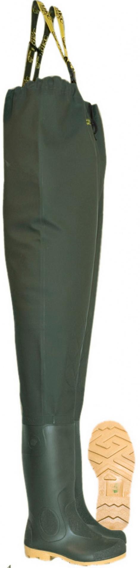Полукомбинезон рыбацкий мужской Рокс С090 Полукомбинезоны рыбацкие<br>Полукомбинезон с регулируемыми по высоте <br>лямками и пластиковым разделителем на спине, <br>удобным внутренним карманом. Полукомбинезон <br>изготовлен из водонепроницаемого материала <br>(трикотажного полотна пропитанного ПВХ) <br>и приварен к сапогам.<br><br>Пол: мужской<br>Размер: 47(30,7)<br>Сезон: лето<br>Цвет: оливковый<br>Материал: сапог - ПВХ