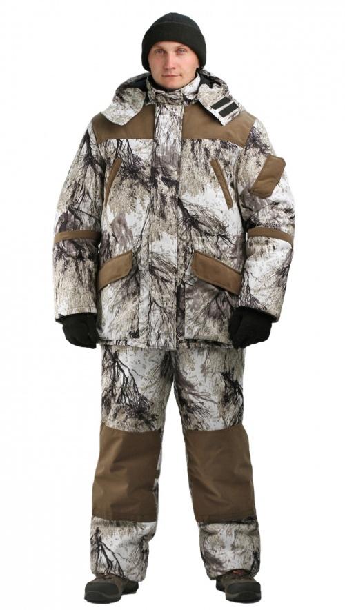 Костюм мужской «Горка-Буран» зимний кмф Костюмы утепленные<br>Камуфлированный универсальный костюм <br>для охоты, рыбалки и активного отдыха при <br>низких температурах. Не шуршит. Состоит <br>из удлинненной куртки с капюшоном и полукомбинезона. <br>Куртка: • Отстегивающийся и регулируемый <br>капюшон. • Центральная застежка молния <br>с ветрозащитной планкой и контактной лентой. <br>• Прорезные нагрудные карманы • Нижние <br>накладные карманы полупортфель, антивор <br>• Внутренние трикотажные манжеты- напульсники <br>Отделка из флиса: спинка и полочкка куртки, <br>капюшон, стойка воротника, подкладка нижний <br>карманов. В рукавах подкладка 100% полиэстер. <br>Полукомбинезон: • Закрывает грудь и спину. <br>• Застежка с двухзамковой молнией. • Боковые <br>карманы полупортфель. • Бретели регулируемые. <br>• Талия регулируется резинкой • Наколенники <br>с отверстиями для амортизационных накладок. <br>Подкладка: 100% полиэстер Синтепон 100г/м2 - <br>4 слоя в куртке, 3 слоя в полукомбинезоне.<br><br>Пол: мужской<br>Размер: 48-50<br>Рост: 182-188<br>Сезон: зима<br>Материал: Алова 100% полиэстер