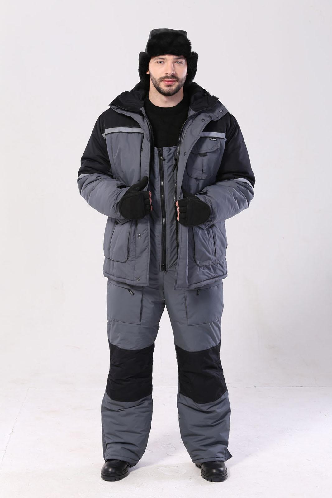 Костюм мужской Полюс (Термофайбер) зимний Костюмы утепленные<br>4 класс защиты. Куртка и полукомбинезон. <br>-отстёгивающая подстёжка куртки -нижние <br>накладные карманы куртки на молнии -трикотажные <br>напульсники на куртке -световозвращающие <br>полосы на стропе -планка куртки на потайных <br>кнопках -внутренняя планка, закрывающая <br>верхний край молнии -внутренний карман <br>для документов -регулировка объёма низа <br>куртки и капюшона -ветрозащитный пояс на <br>резинке -притачной капюшон на флисовой <br>подкладке -капюшон можно одевать на каску <br>-центральная двухзамковая молния на полукомбинезоне <br>-шлёвки под ремень -трикотажные вставки <br>в боковых швах полукомбинезона -объёмные <br>утеплённые карманы -усилительные накладки <br>полукомбинезона в области колена -регулировка <br>низа брюк по ширине<br><br>Пол: мужской<br>Размер: 56-58<br>Рост: 170-176<br>Сезон: зима<br>Цвет: серый<br>Материал: «Таслан» (100% полиэстер) пл. 135 г/м2, ВО