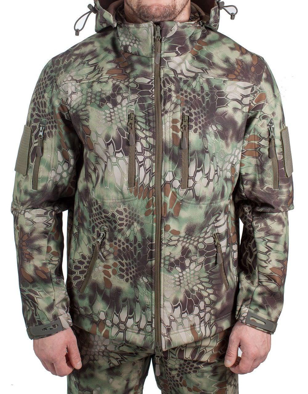 Куртка МПА-26-01 КМФ (софтшелл, питон лес), Куртки софтшелл (Softshell)<br>Куртка МПА-26-01 предназначена для поддержания <br>комфортной температуры тела в холодное <br>время года при активной физической деятельности, <br>при ветре и дожде. Эффективно отводит пар <br>от тела, не пропускает влагу извне. ХАРАКТЕРИСТИКИ <br>ЗАЩИТА ОТ ХОЛОДА ЗАЩИТА ОТ ДОЖДЯ И ВЕТРА <br>ДЛЯ ИНТЕНСИВНЫХ НАГРУЗОК ДЛЯ АКТИВНОГО <br>ОТДЫХА ТОЛЬКО РУЧНАЯ СТИРКА МАТЕРИАЛЫ СОФТШЕЛЛ <br>ФЛИС МЕМБРАНА<br><br>Пол: мужской<br>Сезон: демисезонный<br>Цвет: зеленый<br>Материал: мембрана