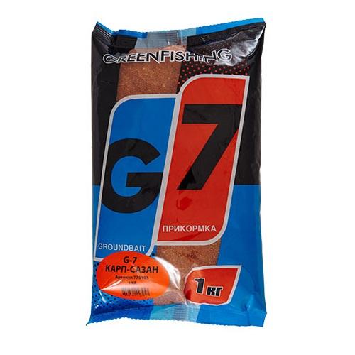 Прикормка Gf G-7 Карп-Сазан 1КгПрикормки<br>Прикормка GF G-7 КАРП-САЗАН 1кг пакет 1кг/ароматика:специальная/цвет:светлый/кратн. <br>короба 16шт. «G-7» - Новая линия недорогих <br>и качественных ароматизированных прикормов, <br>имеет сбалансированный состав, отличную <br>ароматизацию и самые популярные у рыболовов <br>ароматы. Идеально подходит для использования <br>на не запрессованных водоемах, где не имеет <br>смысла переплачивать за дорогие добавки <br>и ингредиенты. Рекомендуется использовать <br>как отличное дополнение к «старшим» сериям, <br>таким как GF, Salapin, Prime и Energy.<br><br>Сезон: лето