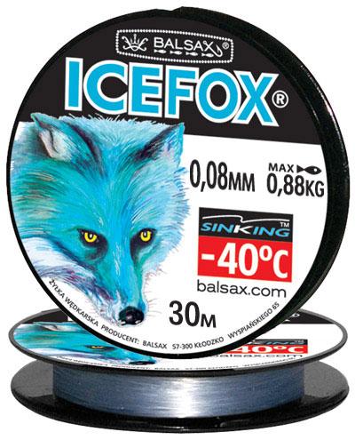 Леска BALSAX Ice Fox 30м 0,08 (0,88кг)Леска монофильная<br>Леска Ice Fox - создана специально для зимней <br>ловли. Очень хорошо выдерживает низкую <br>температуру. Поверхность обработана таким <br>образом, что она не обмерзает как стандартные <br>лески. Отлично подходит для подледного <br>лова. Даже в самом холодном климате, при <br>температуре до -40, она сохраняет свои свойства.<br><br>Сезон: зима