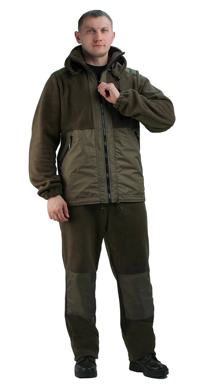 Флисовый костюм Панда хаки с накладками, Костюмы флисовые<br>Куртка мужская прямого силуэта из флиса <br>в комбинации с плащевой тканью. Длина изделия <br>до линии бедер. Полочка с центральной открытой <br>застежкой на тесьму-молнию, горизонтальным <br>членением и настрочной усиливающей кокеткой <br>на верхней части. Нижняя часть полочки с <br>настрочным усиливающим карманом. Вход в <br>карман обработан на тесьму-молнию. Спинка <br>со средним швом и усиливающей настрочной <br>кокеткой. Рукав втачной одношовный, с усиливающей <br>фигурной накладкой в области локтя. В низ <br>рукава вставлена тканево-резиновая тесьма. <br>По верхнему краю воротника-стойки и низу <br>изделия настрочена утягивающая кулиса. <br>Брюки свободного покроя с карманами в боковых <br>швах. Верхний срез брюк с цельновыкроенным <br>поясом, в пояс вставлена тканево-резиновая <br>тесьма, простроченная посередине. Наколенники <br>из отделочной ткани.<br><br>Пол: мужской<br>Размер: 52-54<br>Рост: 182-188<br>Сезон: лето<br>Цвет: оливковый<br>Материал: Флис, пл.350г/м2, антипилинговый