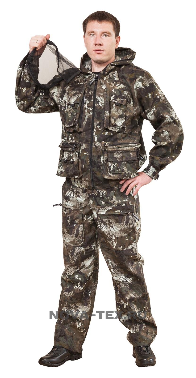 Костюм мужской Диверсант (смесовая, соты Костюмы неутепленные<br>Костюм «Диверсант» (ТМ «Квест») от Novatex <br>относится к линейке антимоскитных костюмов. <br>Этот функциональный костюм прекрасно подойдет <br>для всех любителей активного образа жизни. <br>Состоит из укороченной куртки с капюшоном, <br>оснащенной антимоскитной сеткой, и прямых <br>брюк. Низ брюк и рукава куртки собраны на <br>резинку. Капюшон оснащен съемной антимоскитной <br>сеткой. Костюм «Диверсант» - отличный вариант <br>для охотников, рыбаков и туристов. Особенности <br>модели: -антимоскитная сетка -12 карманов <br>-капюшон регулируется по ширине<br><br>Пол: мужской<br>Размер: 44-46<br>Рост: 170-176<br>Сезон: лето<br>Цвет: коричневый<br>Материал: текстиль