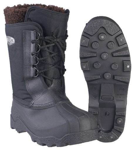 Хаски Комбат ТЭП (SARDONIX) на шнурках, с вкладным Сапоги для активного отдыха<br>Хаски мужские с вкладным чулком и шнуровкой <br>плотно фиксирующей голенище по ноге. Вкладной <br>двухслойный утепляющий чулок состоит из <br>фольгированного нетканного материала и <br>искуственного меха с добавлением натуральных <br>волокон .Меховой отворот по верху чулка <br>создает дополнительную защиту от холода. <br>Подошва с глубоким протектором и стальными <br>шипами препятствует скольжению. Высота <br>обуви: 31см<br><br>Пол: мужской<br>Размер: 43(300)<br>Сезон: зима<br>Цвет: черный