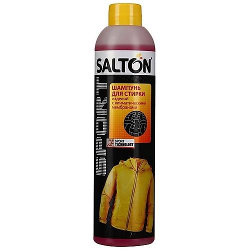 SALTON SPORT Шампунь для стирки изделий с мембранами Средства для ухода за одеждой<br>:Предназначен для стирки спортивных изделий <br>с климатическими мембранами, а также вискозы, <br>эластана, микрофазера, полиэстера, стрейча. <br>Специальная комбинация действующих веществ, <br>глубоко проникает в волокна, бережно и эффективно <br>удаляет загрязнения и устраняет неприятные <br>запахи. После стирки мембрана не теряет <br>своих дышащих свойств. Благодаря специальным <br>добавкам, сохраняющим эластичность, вещи <br>не садятся и сохраняют первоначальную форму.Свойства:* <br>Бережно очищает от загрязнений;* Устраняет <br>неприятные запахи.Способ применения:Шампунь <br>подходит для ручной и машинной стирки. Рекомендуемая <br>дозировка указана на упаковке. Сильно загрязненные <br>места перед стиркой обработать вручную. <br>Не применяйте с ополаскивателем для белья. <br>Перед применением обратите внимание на <br>рекомендации производителя по уходу за <br>Вашими изделиями.Состав:15-30 % неионные тензиды, <br>5-15 % анионные тензиды, содержит: энзимы, <br>душистые вещества (бутилфенил, метилирониогал, <br>гексил циннамал, масло цитронеллы), бензисотиазолинон, <br>метиласотиазолинон.<br>