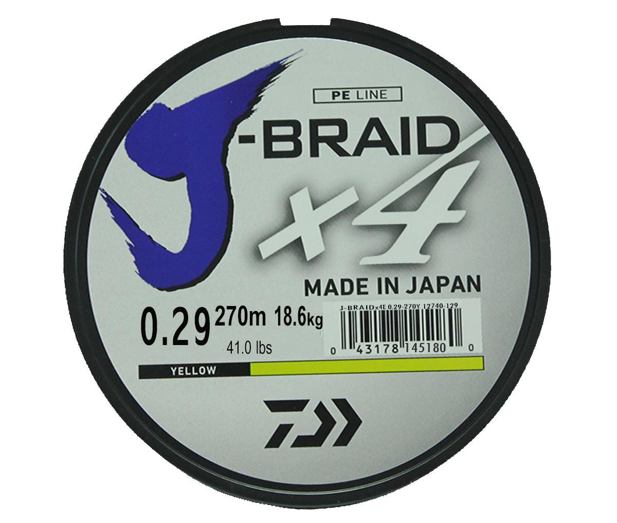 Леска плетеная DAIWA J-Braid X4 0,29мм 270 (флуор.-желтая)Леска плетеная<br>Новый 4х жильный шнур J-Braid, DAIWA - шнур высокого <br>класса с удивительным соотношением цены <br>и качества. Качество плетения полностью <br>соответствует японским стандартам и удовлетворяет <br>всем требованиям. Представленные диаметры <br>позволяют использовать шнур для всех техник <br>ловли, начиная от ultra- light ловли окуня, до <br>морской ловли палтуса, трески и т.д.<br>