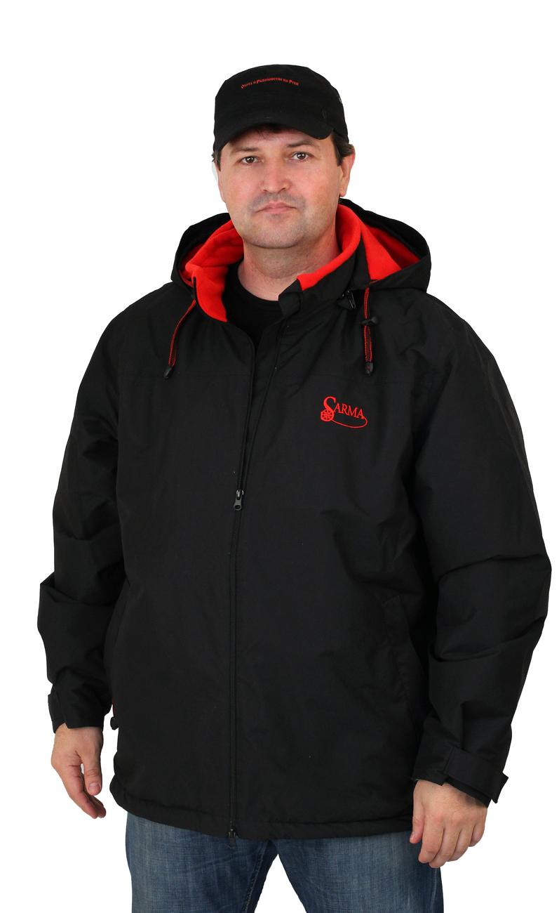 Куртка мужская Sarma для активного отдыха Куртки утепленные<br>Куртка верх – Курточный водоотталкивающий <br>материал – Таслан. Подкладка – флис 290г/м2, <br>Подкладка – синтепон, Подкладка – ткань <br>п/э - отстегивающийся капюшон на молнии; <br>- рукав втачной; - низ рукава окантован мягкой <br>тесьмой; - центральная застежка молния 2-х <br>замковая; - два вместительных нижних кармана <br>на молниях, дополнительно закрываются защитными <br>клапанами; - внутренняя подкладка по всей <br>длине из флиса, а рукава из подкладочной <br>ткани; - с внутренней стороны куртки на подкладке <br>два кармана на молнии; - низ куртки регулируется <br>резинкой со стопором; - швы герметизированы <br>лентой ПУ. Куртка предназначена для активного <br>отдыха, защиты от непогоды.<br><br>Пол: мужской<br>Размер: 54(XXL)<br>Сезон: демисезонный<br>Цвет: черный<br>Материал: текстиль