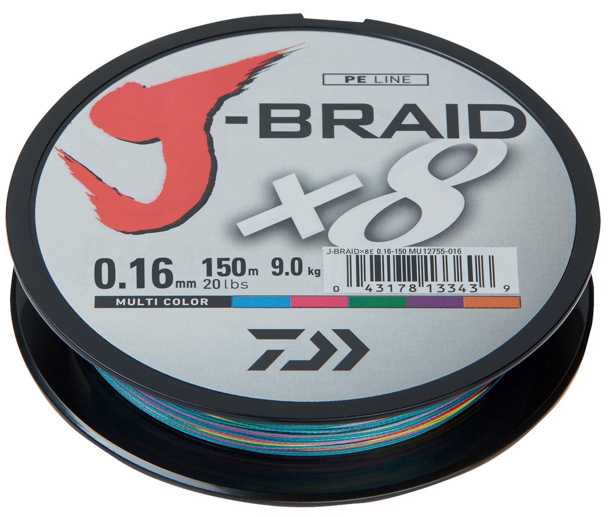 Леска плетеная DAIWA J-Braid X8 0,16мм 150м (мультиколор)Леска плетеная<br>Новый J-Braid от DAIWA - исключительный шнур с <br>плетением в 8 нитей. Он полностью удовлетворяет <br>всем требованиям. предьявляемым высококачественным <br>плетеным шнурам. Неважно, собрались ли вы <br>ловить крупных морских хищников, как палтус, <br>треска или спйда, или окуня и судака, с вашим <br>новым J-Braid вы всегда контролируете рыбу. <br>J-Braid предлагает соответствующий диаметр <br>для любых техник ловли: море, река или озеро <br>- невероятно прочный и надежный. J-Braid скользит <br>через кольца, обеспечивая дальний и точный <br>заброс даже самых легких приманок. Идеален <br>для спиннинговых и бейткастинговых катушек! <br>Невероятное соотношение цены и качества! <br>-Плетение 8 нитей -Круглое сечение -Высокая <br>прочность на разрыв -Высокая износостойкость <br>-Не растягивается -Сделан в Японии<br>
