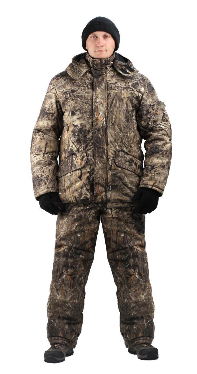 Костюм мужской Nordwig Buran зимний кмф т.Алова Костюмы утепленные<br>Камуфлированный универсальный костюм <br>для охоты, рыбалки и активного отдыха при <br>низких температурах. Не шуршит. Состоит <br>из удлинненной куртки с капюшоном и полукомбинезона. <br>Куртка: • Отстегивающийся и регулируемый <br>капюшон. • Центральная застежка молния <br>с ветрозащитной планкой и контактной лентой. <br>• Прорезные нагрудные карманы • Нижние <br>накладные карманы полупортфель, антивор <br>• Внутренние трикотажные манжеты- напульсники <br>Отделка из флиса: спинка и полочкка куртки, <br>капюшон, стойка воротника, подкладка нижний <br>карманов. В рукавах подкладка 100% полиэстер. <br>Полукомбинезон: • Закрывает грудь и спину. <br>• Застежка с двухзамковой молнией. • Боковые <br>карманы полупортфель. • Бретели регулируемые. <br>• Талия регулируется резинкой • Наколенники <br>с отверстиями для амортизационных накладок. <br>Подкладка: 100% полиэстер Синтепон 100г/м2 - <br>4 слоя в куртке, 3 слоя в полукомбинезоне.<br><br>Пол: мужской<br>Размер: 44-46<br>Рост: 182-188<br>Сезон: зима<br>Цвет: коричневый<br>Материал: Алова 100% полиэстер