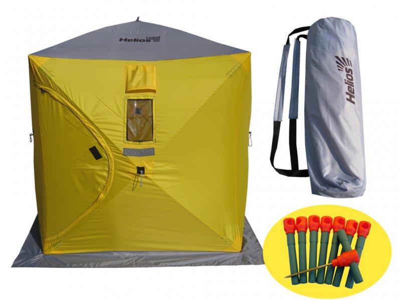 Палатка зимняя куб Helios 1.5х1,5 (3зеленый/2серый)Палатки зимние<br>Идеальное решение для зимней рыбалки. Палатка <br>обеспечивает защиту от ветра, дождя и низких <br>температур, а продуманная конструкция самого <br>тента позволяет установить её в течение <br>30 секунд. Палатка имеет вентиляционные <br>окна. Прочный, влагоотталкивающий, пожаробезопасный <br>материал тента (Оксфорд 240 PU 2000) с юбкой <br>не продувается и при использовании палатки <br>в светлое время суток пропускает свет за <br>счет окон. В комплект входит удобная сумка-чехол <br>с рюкзачными лямками для возможности переноски <br>как в руках, так и на спине. За счёт кубической <br>формы и высоты в палатке может без стеснения <br>находиться несколько человек. Размеры палатки: <br>1,5 х1,5х1,7 м. Расцветка: желтый/серый, зеленый/серый. <br>Светотражающие элементы на каждой стороне <br>и гранях. Дуги: фибергласс 9,5, ввертыши (сталь, <br>пластик - 8 шт.). Вес - 6 кг. Пропускает свет <br>за счет окон.<br>
