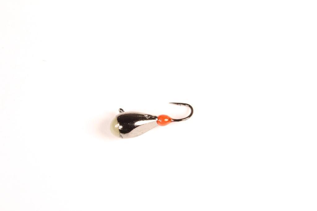 Морм. Вольф.Dixxon-Rus капля с ушком и фосфором Мормышки<br>Мормышка вольфрамовая для подледной ловли. <br>Крючок - FUDO (Япония) Вес - 1,6 г Цвет - черный <br>никель<br>