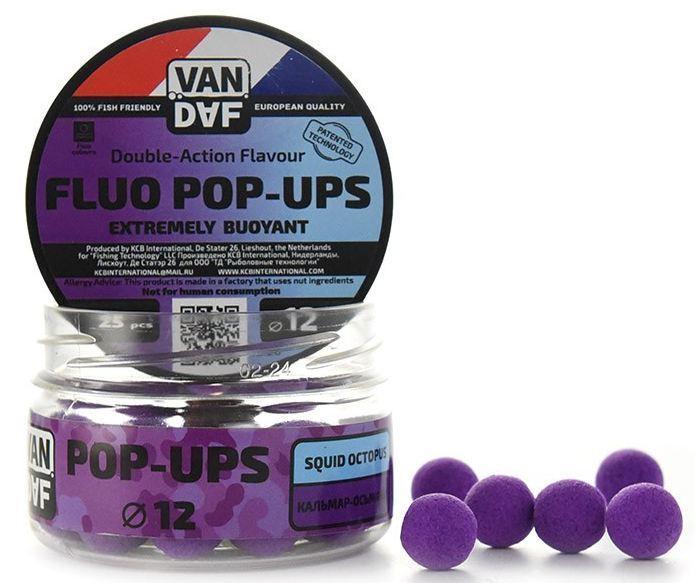 Поп-апы VAN DAF Squid Octopus - Кальмар-Осьминог, Насадки<br>POP-UPS VAN DAF (Поп-апы), плавающие флуоресцентные. <br>Невероятно привлекательная насадка с потрясающей <br>видимостью даже в воде с минимальной прозрачностью. <br>Сохраняет положительную плавучесть несколько <br>часов. Поп-апы созданы для традиционной <br>карповой ловли, а в сочетании с жидкими <br>аттрактантами VAN DAF являются отменной насадкой <br>для ловли на FLAT FEEDER (флэт фидер). Поп-апы <br>имеют уникальную мягкую губчатую структуру, <br>отлично впитывающую стимуляторы аппетита <br>и мгновенно отдающую запах в воде. С нашими <br>поп-апами легко работать. Вы можете без <br>проблем проткнуть их иглой или привязать <br>к волосу. Мягкий и податливый материал легко <br>режется. С помощью ножа или ножниц вы сможете <br>придать любой размер или форму вашей насадке. <br>Каждый POP-UP пропитан ароматизатором с привлекательным <br>для карпа запахом. Вы сможете подобрать <br>необходимый цвет и запах под любые условия <br>ловли. Яркий флуоресцентный цвет делает <br>насадку на волосе хорошо заметной, а расходящийся <br>от нее запах выделяет ее на дне и провоцирует <br>рыбу на поклёвку. Измельчив и добавив их <br>в спод–микс совместно с пеллетсом, зерновыми <br>миксами, резаными бойлами, можно придать <br>смеси активность с помощью всплывающих <br>частиц. Для улучшения работы POP-UPS перед <br>ловлей советуем пропитать их в дипах или <br>бустерах VAN DAF. Размер 12 Цвет Фиолетовый <br>Сезон Всесезонные Вес 20 г<br>