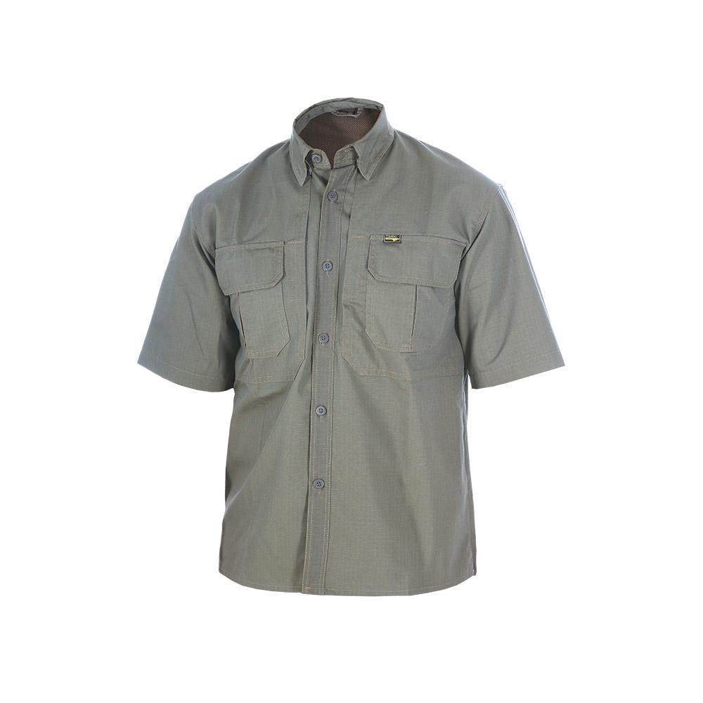 Рубашка ХСН «Тактика» короткий рукав (9491-6) Рубашки к/рукав<br>Рубашка мужская подойдет для ношения летом. <br>Изготовлена из натурального материала. <br>На рубашке нашиты накладные карманы. Материал <br>обработан водоотталкивающей пропиткой.<br><br>Пол: мужской<br>Размер: 54/170-176<br>Сезон: лето<br>Цвет: оливковый<br>Материал: 100% хлопок