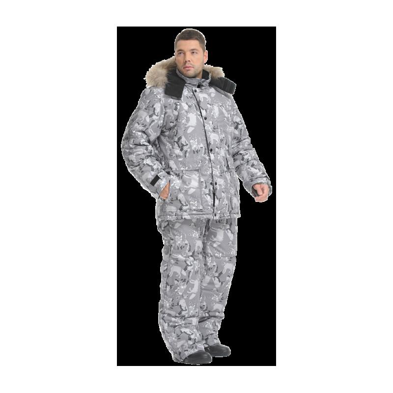 Костюм Sobol ХАНТЕР утеплённый, волки (серый) Костюмы утепленные<br>Подойдет любителям рыбалки и активного <br>отдыха зимой, а также для катания на снегоходе. <br>Защищает от пониженных температур воздуха <br>до 40С. В комплект входит куртка и полукомбинезон. <br>КУРТКА: - застегивается на молнию с ветрозащитной <br>планкой; - многофункциональные карманы; <br>- внутренний карман для документов; - съемный <br>капюшон; - регулировка по линии талии и низу; <br>- внутренняя трикотажная манжета; - усиленные <br>вставки на локтях; - регулируемые манжеты; <br>- съемная сигнальная накладка на рукаве. <br>ПОЛУКОМБИНЕЗОН: - застегивается на молнию; <br>- нагрудные карманы; - боковые карманы; - <br>усиленные вставки на коленях; - отстегивающаяся <br>задняя часть; - внутренний чулок.<br><br>Пол: мужской<br>Размер: 52-54<br>Рост: 170-176<br>Сезон: зима<br>Цвет: серый<br>Материал: LOKKER POINT MEMBRANE, пл 135 г/м?
