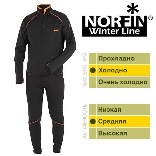Термобелье Norfin Winter Line (XXL, 3025005-XXL)Комплекты термобелья<br>Термобелье Norfin WINTER LINE 01 р.S разм.S/кофта, <br>штаны/мат.полиэст/цв.чер с оранж. отд./темп.холодно/акт.средняя <br>Термобелье NORFIN WINTER LINE. «Дышащее» раздельное <br>термобелье. Согласно послойной концепции <br>Norfin является термобельем базового слоя <br>при средней физической активности. Мягкий, <br>очень приятный для тела материал. Белье <br>скроено таким образом, чтобы не стеснять <br>движений тела – оно имеет максимальную <br>эластичность в необходимых зонах. ТЕРМОБЕЛЬЕ: <br>Очень приятный и мягкий материал. Надежная <br>застежка-молния. Эластичный пояс. Эластичные <br>манжеты на штанах. Прорезь на рукаве под <br>большой палец. Материал: ПОЛИЭСТЕР.<br><br>Пол: мужской<br>Размер: XXL<br>Сезон: зима<br>Цвет: черный