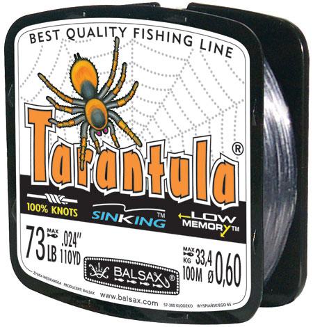 Леска BALSAX Tarantula 100м 0,60 (33,4кг)Леска монофильная<br>Леска Tarantula - эта леска как никакая другая <br>защищена от скручивания. В случае применения <br>этой лески растяжимость является отличным <br>достоинством и как амортизатор защищает <br>остнастку от обрыва.<br><br>Сезон: лето