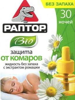 Жидкость РАПТОР от комаров BIO с экстр. Ромашки РЕПЕЛЛЕНТЫ И ИНСЕКТИЦИДЫ<br>Создана для людей с повышенной чувствительностью <br>к химическим компонентам, содержащимся <br>в инсектицидах. Содержит pyrethrum – натуральный <br>экстракт ромашки. Не имеет запаха. К сведению: <br>Безопасно для взрослых и детей, а также <br>домашних животных. Один флакон рассчитан <br>на 30 ночей (240 часов).<br>