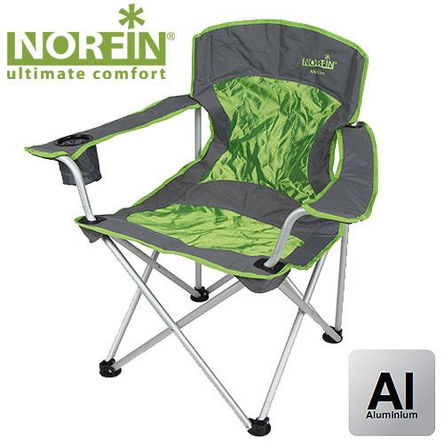 Кресло Складное Norfin Verdal Nf АлюминиевоеСтулья, кресла<br>Складное кресло - прекрасный выбор для <br>ценящих комфорт рыбаков. Компактная модель, <br>обладающая небольшим весом. Алюминиевый <br>каркас, мягкая спинка, тканевые подлокотники <br>с подстаканником. Особенности: - габариты <br>56x56x42/86 см; - размер в сложенном виде 23x23x90 <br>см; - максимальная нагрузка 145 кг; - каркас <br>алюминий 19 мм.<br><br>Сезон: лето<br>Цвет: зеленый<br>Материал: 600D polyester