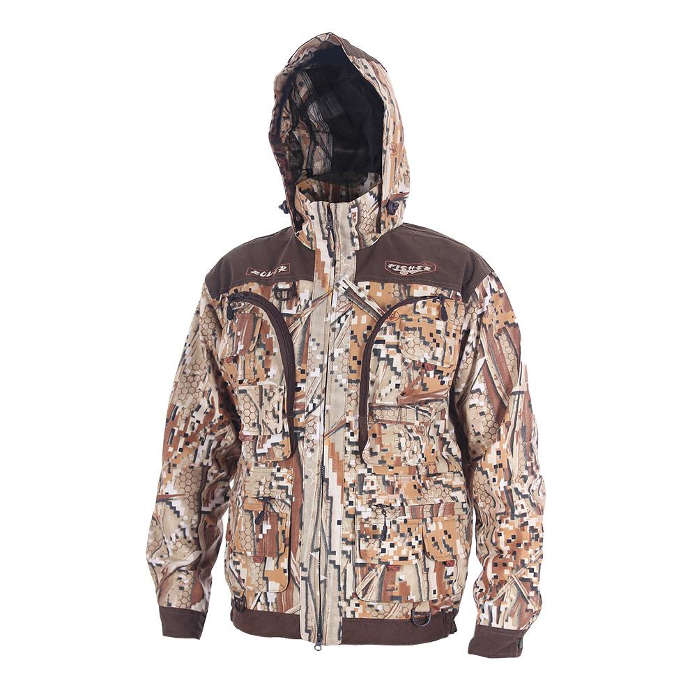 Куртка ХСН «Ровер-рыбак» (9791-31) (Камыш-1, Куртки неутепленные<br>Идеально подойдет любителям рыбалки и <br>активного отдыха. Куртка изготовлена из <br>специального материала с содержанием хлопка, <br>который не шуршит при движении. Ткань обработана <br>водоотталкивающей тефлоновой пропиткой <br>для защиты от влаги. Особенности: - регулируемый <br>несъемный капюшон с противомоскитной сеткой; <br>- 10 шт. объемных карманов, в том числе под <br>рыболовные коробки; - особый крой рукавов, <br>обеспечивающий свободу движения; - манжеты <br>на пуговицах с возможностью регулировки <br>ширины; - специальная усиленная ткань на <br>плечах; - двойной джинсовый запошивочный <br>шов.<br><br>Пол: мужской<br>Размер: 62 - 64 / 182<br>Сезон: лето<br>Цвет: коричневый<br>Материал: Хлопкополиэфирная ткань