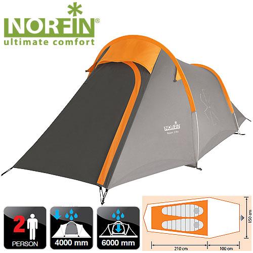 Палатка Алюминиевые Дуги 2-Х Местная Norfin Палатки<br>Компактная треккинговая палатка с алюминиевыми <br>дугами. Прекрасно подойдет для ночёвок <br>на природе. В палатке могут с комфортом <br>разместится два человека с багажом. Все <br>швы герметизированы. Особенности: - двухслойная <br>палатка; - с одним входом; - алюминиевая конструкция <br>каркаса; - антимоскитная сетка на входе; <br>- два вентиляционных окна; - веревки оттяжек <br>со светоотражающей нитью; - специальный <br>чехол-стяжка для фиксации каждой сложенной <br>веревки; - петли для фиксации скатанного <br>входа; - дополнительный карман, чтобы убирать <br>открытый полог входа. Характеристики: - <br>размер наружной палатки (100+210)x150x115/75 см; <br>- размер внутренней палатки 210x140x110 см; - размер <br>в сложенном виде 57x15x15 см; - материал внутренней <br>палатки 190T breathable polyester; - материал дна/ влагостойкость <br>(мм H2O) Polyester 210D Oxford PU/ 6000; - материал каркаса <br>алюминий; - количество дуг(стоек)/диаметр <br>(мм) 2/8,5mm; - материал колышек: сталь.<br><br>Сезон: лето<br>Цвет: серый