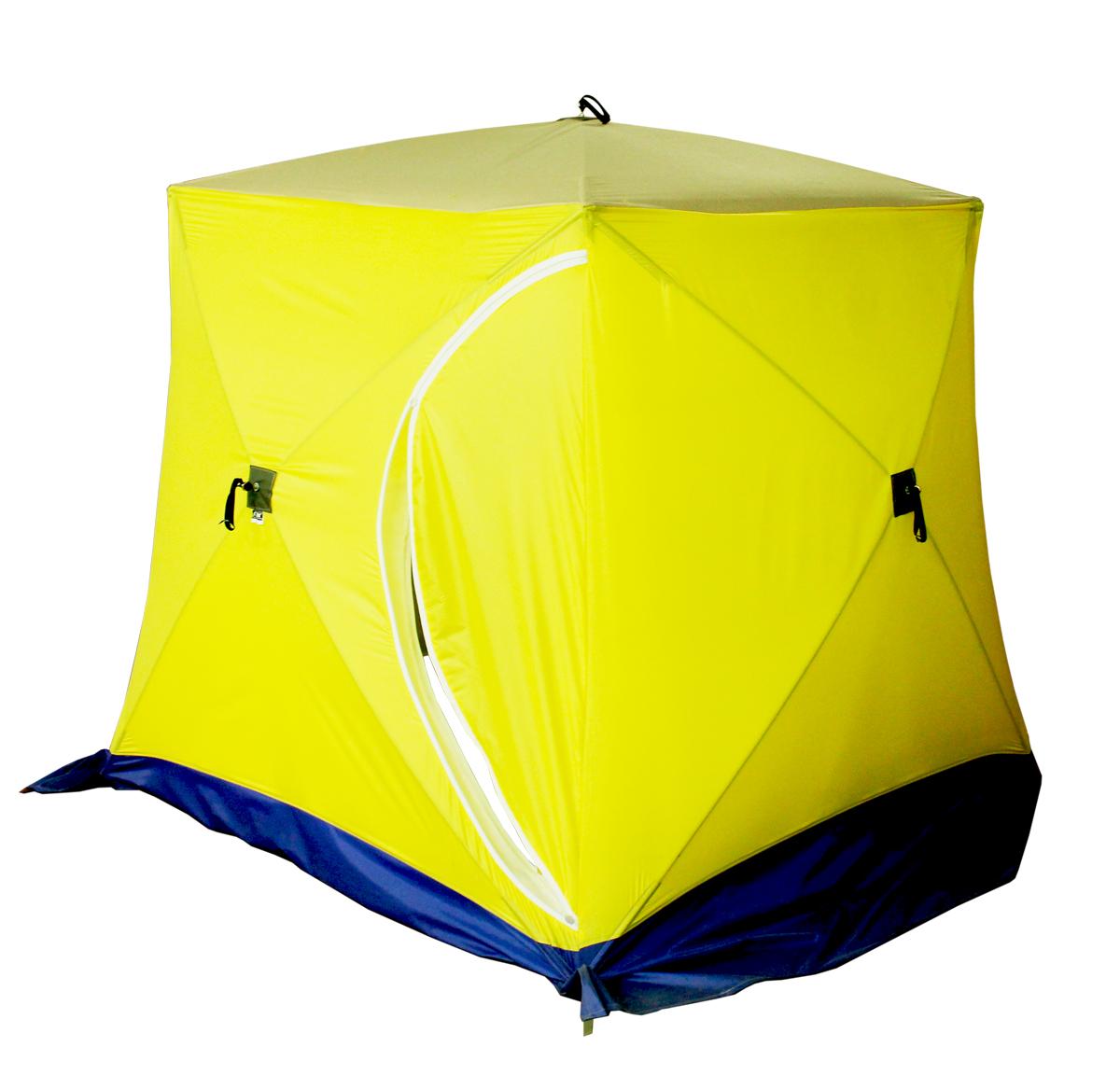 Палатка рыбака КУБ-2 двухслойная (Стэк)Палатки зимние<br>Палатка КУБ 2 местная двухслойная, предназначена <br>для зимнего подледного лова. Каркас изготовлена <br>из cтеклопластика с добавление карбона. <br>Тент изготовлен из синтетической непродуваемой <br>ткани (оксфорд 300PU) Нижний тент (второй слой) <br>из ткани Гретта (состав 80% синт.20% хлопок) <br>Габариты в собранном виде: 0.5х1,4м Вес: кг. <br>Габариты в разобранном виде: сторона 1.85м, <br>высота 1,85м, диаметр (по диагонали, по низу) <br>- 2,6м Инструкция.КУБ 2 и 3.Открытие палатки. <br>Достали из чехла палатку, положили горизонтально. <br>Разверните любую одну из боковых сторон <br>(к ним пришит полог палатки) и потянули петлю <br>до упора. У Вас открылась одна сторона. Следующую <br>открываем крышу палатки (тянем за петлю <br>до упора). Потом открываем противоположную <br>сторону палатки и затем остальные две стороны.Закрытие <br>палатки. Сначала закрываем все четыре стороны <br>палатки (слегка надавливая на петлю вовнутрь <br>палатки), затем последней закрываем крышу.<br>