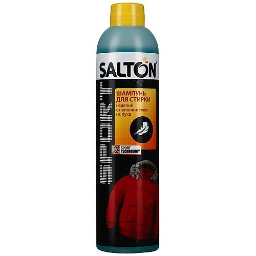 SALTON SPORT Шампунь для стирки изделий с наполнителем Средства для ухода за одеждой<br>Шампунь Salton Sport предназначен для стирки <br>спортивных изделий с наполнителем из пуха: <br>пуховиков, спальных мешков. Специальная <br>комбинация действующих веществ бережно <br>и эффективно удаляет загрязнения и устраняет <br>неприятные запахи, при этом сохраняет эластичность, <br>воздухопроницаемость и греющие свойства <br>пуха, предохраняет его от ломкости и скатывания. <br>Шампунь подходит для ручной и машинной <br>стирки. Не применять с ополаскивателем <br>для белья.<br>