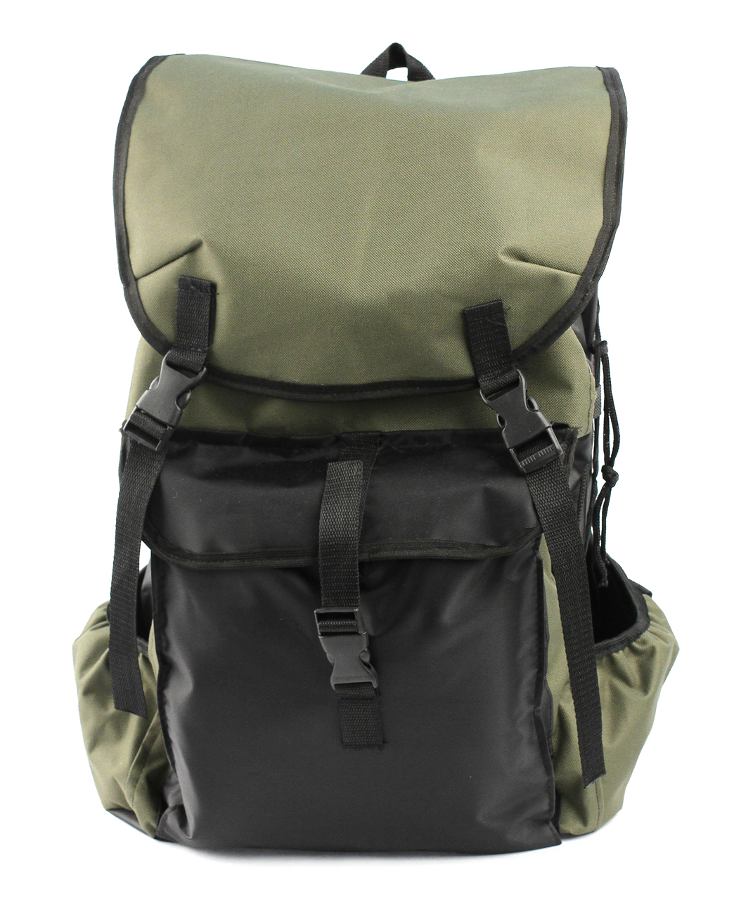 Рюкзак Рыбалка 60 литровРюкзаки<br>Недорогой практичный рюкзак РЫБАЛКА выполнен <br>из ткани оксфорд 600D с водоотталкивающей <br>пропиткой, которая защищает от осадков <br>и облегчает чистку изделия. Упрощенная <br>конструкция имеет один основной отсек, <br>горловина которого утягивается шнуром <br>и фиксируется при помощи кулиски. Для максимальной <br>защиты рюкзак закрывается откидным клапаном <br>с фиксацией на два ремешка с фастексами. <br>Извне имеются три накладных карман. По бокам <br>предусмотрена шнуровка для утяжки. Анатомическая <br>прокладка на спинке. Плечевые лямки регулируются <br>по росту. Подходит для охоты, рыбалки и активного <br>отдыха.<br>