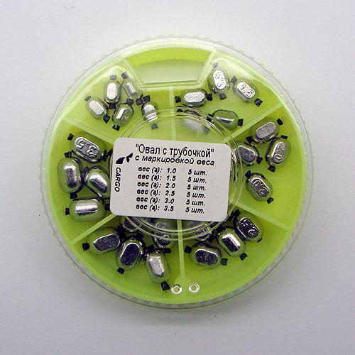 Грузила Овал С Трубочкой 6 Секций 070 НаборГрузила наборы<br>Грузила ОВАЛ с трубочкой 6 секц. 070 набор <br>вес 1,0г; 1,5г; 2,0г; 2,5г; 3,0г; 3,5г/на силиконовой <br>трубочке Для поплавочной и легкой донной <br>снасти. На каждом грузике нанесена маркировка <br>веса в граммах.<br><br>Сезон: Летний