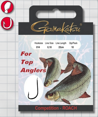 Крючок GAMAKATSU BKS-1010R Roach 22см Comp №16 d поводка Одноподдевные<br>Оснащенный поводок для ловли плотвы в условиях <br>соревнований, длинной 22 см и диаметром сечения <br>0,10<br>