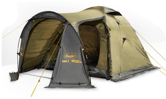 Палатка Canadian Camper RINO 2 (цвет forest дуги 8,5 мм)Палатки<br>&amp;nbsp;Палатка RINO 2 (цвет forest дуги 8,5 мм) это <br>легкая, надёжная, вместительная палатка <br>с увеличенным тамбуром и двумя входами. <br>Противомоскитные сетки вентиляционных <br>окон и дверей не позволят насекомым испортить <br>вам отдых. Верхний тент водонепроницаем <br>и пропитан огнестойким составом. <br>Особенности Москитные сетки<br>Защита от ультрафиолета<br>Вентиляционные окна&amp;nbsp;<br>Возможность крепления фонарика&amp;nbsp;<br>Огнеупорная пропитка<br>Характеристики Количество мест: 2<br>Количество входов: 2<br>Количество тамбуров: 1<br>Внешние габариты: 320x160x135 см<br>Внутренние габариты: 205x155x130 см<br>Внешний тент: Ткань Polyester 75D 180T, водонепроницаемость <br>- 4000 мм<br>Пол: Ткань Polyester 75D 180T, водонепроницаемость <br>6000 мм<br>Каркас: фиберглас 8,5 мм<br>Вес: 4,2 кг<br><br>Сезон: лето<br>Цвет: оливковый