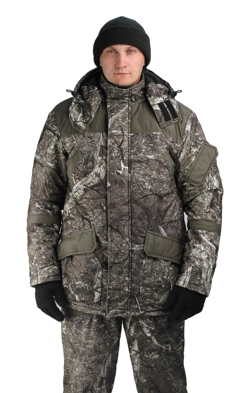 Костюм мужской Gorka -Buran зимний кмф т.Алова Костюмы утепленные<br>Камуфлированный универсальный костюм <br>для охоты, рыбалки и активного отдыха при <br>низких температурах. Не шуршит. Состоит <br>из удлинненной куртки с капюшоном и полукомбинезона. <br>• Отстегивающийся и регулируемый капюшон. <br>• Центральная застежка молния с ветрозащитной <br>планкой и контактной лентой. • Боковые <br>и нагрудные накладные карманы с клапанами. <br>• Усиление в области локтей. • Костюм оснащён <br>объёмными карманами «антивор» • Фиксированная <br>регулировка по локтевым частям рукава •Подкладка: <br>стойки воротника, капюшона, полочки , спинки, <br>подкладка нижний карманов флис 180 г/м2 • <br>Подкладка рукава: ткань подкладочная пл.190 <br>г/м2 • Внутренние трикотажные манжеты- напульсники <br>Полукомбинезон: • Закрывает грудь и спину. <br>• Застежка с двухзамковой молнией. • Боковые <br>карманы. • Бретели регулируемые. • Талия <br>регулируется резинкой • Наколенники с <br>отверстиями для амортизационных накладок. <br>• Подкладка: ткань подкладочная пл.190 г/м2 <br>Синтепон 400 г/м2 - 1 слой в куртке, 3 слой в <br>полукомбинезоне.<br><br>Пол: мужской<br>Сезон: зима<br>Цвет: серый<br>Материал: Алова 100% полиэстер