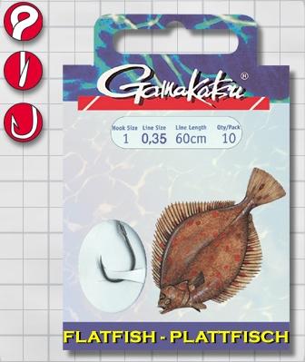 Крючок GAMAKATSU BKD-5013F Flatfish 60см №6 d поводка С поводком<br>Оснащенный поводок для ловли камбалы, длинной <br>60 см и диаметром сечения 0,35<br>