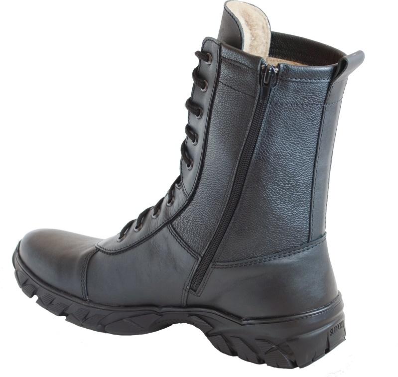 Ботинки с высоким берцем Бутекс ЭкстримZip Берцы<br>Зимние ботинки на подошве из ТЭП (термоэластопласт) <br>клеевого метода крепления. Высота ботинка <br>24 см. Ботинки изготовлены из гладкой натуральной <br>хромовой кожи толщиной 1,6 мм. В качестве <br>утеплителя используется набивной шерстяной <br>мех с содержанием (70%)шерсти мериноса. Носочная <br>и пяточная часть ботинка для сохранения <br>формы продублированы термопластическим <br>материалом. С тыльной стороны берца находится <br>застёжка молния, закрытая изнутри кожаным <br>клапаном. Молния позволяет снимать и одевать <br>обувь без помощи шнуровки. Полу-глухой клапан <br>препятствует попаданию внутрь ботинка <br>посторонних предметов и снега. Данная модель <br>пользуется успехом у сотрудников силовых <br>структур и у людей, увлекающихся активными <br>видами отдыха на природе.<br><br>Пол: мужской<br>Размер: 43<br>Сезон: зима<br>Цвет: черный