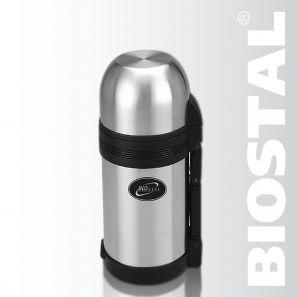 Термос Biostal NG-1000-1 1,0л (универсальный, складная Термосы<br>Легкий и прочный Сохраняет напитки и продукты <br>горячими или холодными долгое время Изготовлен <br>из высококачественной нержавеющей стали <br>Конструкция пробки позволяет использовать <br>термос как для напитков, так и для первых <br>и вторых блюд С удобной ручкой и ремешком <br>для переноски С крышкой-чашкой и дополнительной <br>пластиковой чашкой Характеристики: Объем: <br>1,0 литра Высота: 23 см Диаметр: 10,6 см Вес: 780 <br>г Размеры упаковки: 11,2х12,2х24,2 см<br>