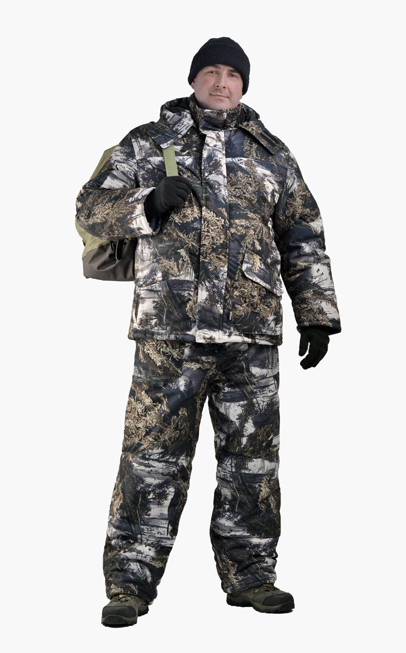 Костюм мужской Nordwig Buran зимний кмф т.Алова Костюмы утепленные<br>Камуфлированный универсальный костюм <br>для охоты, рыбалки и активного отдыха при <br>низких температурах. Не шуршит. Состоит <br>из удлинненной куртки с капюшоном и полукомбинезона. <br>Куртка: • Отстегивающийся и регулируемый <br>капюшон. • Центральная застежка молния <br>с ветрозащитной планкой и контактной лентой. <br>• Прорезные нагрудные карманы • Нижние <br>накладные карманы полупортфель, антивор <br>• Внутренние трикотажные манжеты- напульсники <br>Отделка из флиса: спинка и полочкка куртки, <br>капюшон, стойка воротника, подкладка нижний <br>карманов. В рукавах подкладка 100% полиэстер. <br>Полукомбинезон: • Закрывает грудь и спину. <br>• Застежка с двухзамковой молнией. • Боковые <br>карманы полупортфель. • Бретели регулируемые. <br>• Талия регулируется резинкой • Наколенники <br>с отверстиями для амортизационных накладок. <br>Подкладка: 100% полиэстер Синтепон 100г/м2 - <br>4 слоя в куртке, 3 слоя в полукомбинезоне.<br><br>Пол: мужской<br>Размер: 44-46<br>Рост: 170-176<br>Сезон: зима<br>Цвет: серый<br>Материал: Алова 100% полиэстер