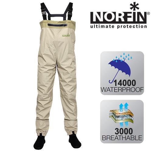Полукомбинезон Забродный Norfin Whitewater (XS, Полукомбинезоны рыбацкие<br>Забродный полукомбинезон изготовлен из <br>трехслойной мембранной ткани. Он идеально <br>подходит для охоты и рыбалки. В этом забродном <br>комбинезоне можно смело заходить в воду <br>по грудь, не боясь промокнуть. Особенности: <br>- карман на груди с влагозащитной застежкой-молнией; <br>- неопреновые носки; - регулируемые подтяжки; <br>- резинка внизу брючин; - регулируемый пояс.<br><br>Пол: мужской<br>Размер: XS<br>Сезон: лето<br>Цвет: бежевый<br>Материал: мембрана