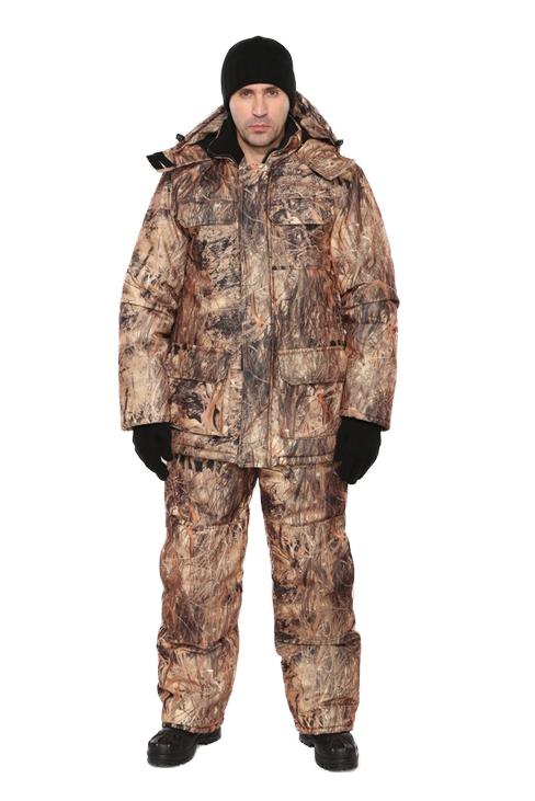 Костюм мужской Nordwig Буран демисезонный Костюмы утепленные<br>Камуфлированный универсальный костюм <br>для охоты, рыбалки и активного отдыха при <br>низких температурах. Не шуршит. Состоит <br>из удлинненной куртки с капюшоном и полукомбинезона. <br>Куртка: • Отстегивающийся и регулируемый <br>капюшон. • Центральная застежка молния <br>с ветрозащитной планкой и контактной лентой. <br>• Боковые и нагрудные накладные карманы <br>с клапанами. • Усиление в области локтей. <br>• Манжеты на резинке Полукомбинезон: • <br>Закрывает грудь и спину. • Застежка с двухзамковой <br>молнией. • Боковые карманы. • Бретели регулируемые. <br>• Талия регулируется резинкой • Наколенники <br>с отверстиями для амортизационных накладок.<br><br>Пол: мужской<br>Размер: 52-54<br>Рост: 170-176<br>Сезон: демисезонный<br>Цвет: бежевый<br>Материал: Алова 100% полиэстер
