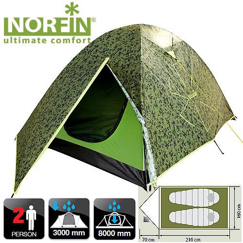 Палатка 2-Х Местная Norfin Cod 2 NcПалатки<br>Двуслойная дуговая палатка очень проста <br>в установке. Легкая и комфортная. Идеально <br>подойдет для путешествий вдвоем. Все швы <br>палатки герметизированы. Особенности: - <br>один вход; - вход продублирован антимоскитной <br>сеткой; - большое количество карманов для <br>мелочей; - крючок для подвески фонаря; - петли <br>для фиксации скатанного входа. Характеристики: <br>- размер наружной палатки (70+210)x160x120 см; - <br>размер внутренней палатки 210x150x110 см; - размер <br>в сложенном виде 60х13х13 см; - материал внутренней <br>палатки 190T breathable polyester; - материал дна/влагостойкость <br>(мм H2O) PE 120g/m2 / 8000; - материал каркаса: FG; - количество <br>дуг(стоек)/диаметр (мм) 2/8 мм; - материал колышек: <br>сталь.<br><br>Сезон: лето<br>Цвет: зеленый