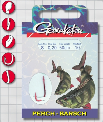 Крючок GAMAKATSU BKS-5260R Perch 50см №4 d поводка 025 Одноподдевные<br>Оснащенный поводок для ловли окуня, длинной <br>50 см и диаметром сечения 0,25<br>