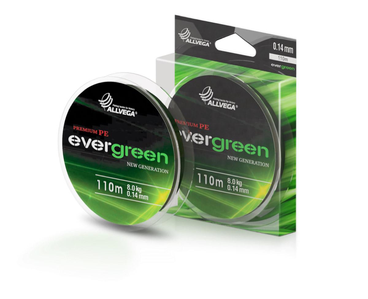 Леска плетеная ALLVEGA Evergreen 110м 0,14мм (8,0кг) Леска плетеная<br>При традиционных методах производства <br>плетёные шнуры со временем теряют свой <br>цвет(покрытие), а вместе с ним и часть своих <br>полезных физических свойств. Революционно <br>новый подход в технологии изготовления <br>EVERGREEN позволяет забыть о проблеме потери <br>цвета в процессе использования шнура. Он <br>всегда будет зелёным - он просто не может <br>быть другим!<br>