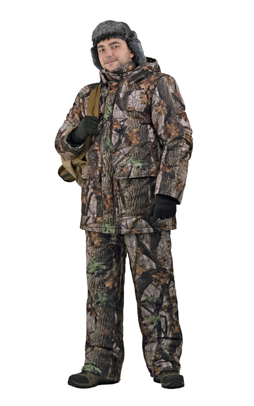 Костюм мужской Вепрь зимний кмф алова Костюмы утепленные<br>Камуфлированный универсальный костюм <br>для охоты, рыбалки и активного отдыха при <br>низких температурах. Состоит из удлиненной <br>куртки и полукомбинезона. Куртка: • Центральная <br>застежка на молнии с ветрозащитной планкой <br>на кнопках. • Отстегивающийся и регулируемый <br>капюшон. • Регулируемая кулиса по линии <br>талии. • Нижние и верхние многофункциональные <br>накладные карманы с клапанами на контактной <br>ленте и на молнии. • Усиление в области <br>локтей. • Трикотажные манжеты по низу рукавов. <br>Полукомбинезон: • Высокая грудка и спинка. <br>• Центральная застежка на молнию. • Талия <br>регулируется эластичной лентой. • Регулируемые <br>бретели, • Верхние боковые карманы<br><br>Пол: мужской<br>Размер: 44-46<br>Рост: 170-176<br>Сезон: зима<br>Цвет: коричневый<br>Материал: Алова 100% полиэстер