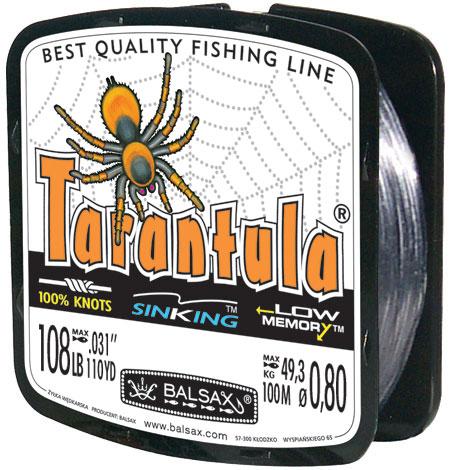 Леска BALSAX Tarantula 100м 0,80 (49,3кг)Леска монофильная<br>Леска Tarantula - эта леска как никакая другая <br>защищена от скручивания. В случае применения <br>этой лески растяжимость является отличным <br>достоинством и как амортизатор защищает <br>остнастку от обрыва.<br><br>Сезон: лето