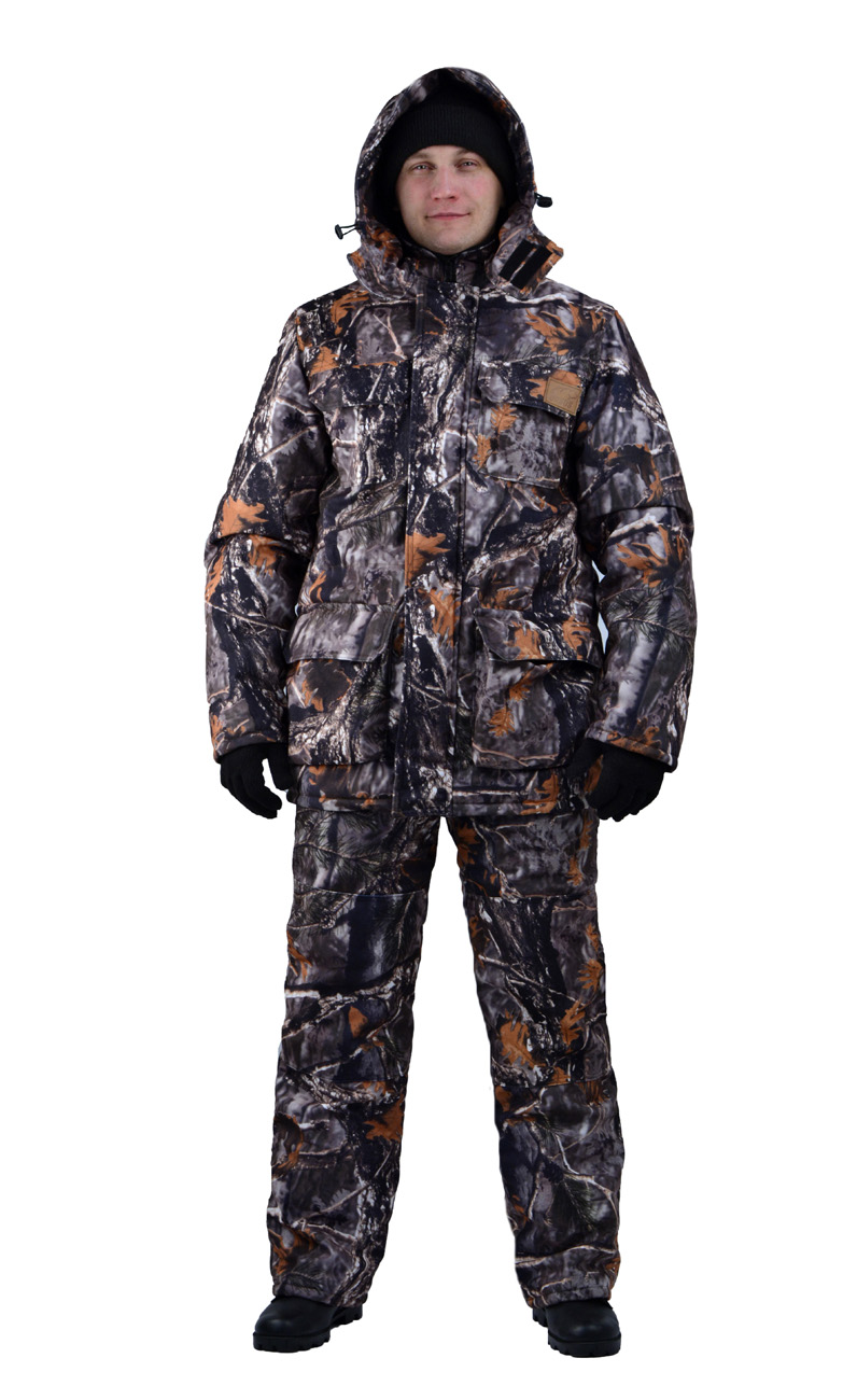 Костюм мужской Nordwig Buran демисезонный кмф Костюмы утепленные<br>Камуфлированный универсальный костюм <br>для охоты, рыбалки и активного отдыха при <br>низких температурах. Не шуршит. Состоит <br>из удлинненной куртки с капюшоном и полукомбинезона. <br>Куртка: • Отстегивающийся и регулируемый <br>капюшон. • Центральная застежка молния <br>с ветрозащитной планкой и контактной лентой. <br>• Боковые и нагрудные накладные карманы <br>с клапанами. • Усиление в области локтей. <br>• Манжеты на резинке Полукомбинезон: • <br>Закрывает грудь и спину. • Застежка с двухзамковой <br>молнией. • Боковые карманы. • Бретели регулируемые. <br>• Талия регулируется резинкой • Наколенники <br>с отверстиями для амортизационных накладок.<br><br>Пол: мужской<br>Размер: 44-46<br>Рост: 182-188<br>Сезон: демисезонный<br>Цвет: серый