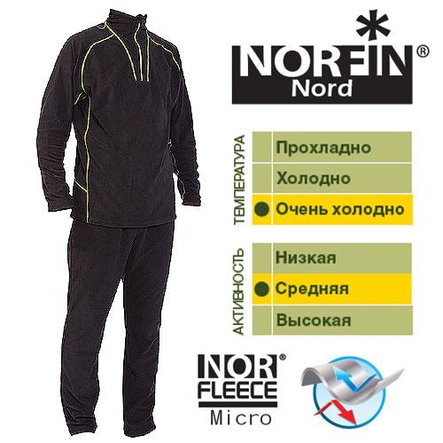 Термобелье Norfin Nord (XL, 3027004-XL)Комплекты термобелья<br>Термобелье Norfin NORD 01 р.S разм.S/кофта, штаны/мат.полиэстер/цв.чер./темп.оч.холодно/акт.сред. <br>Белье универсального использования, скроено <br>из высококачественного микрофлиса. Мягкий, <br>приятный для тела материал отводит излишнюю <br>влагу и сохраняет тепло – обеспечивая внутренний <br>комфорт телу даже при высоких физических <br>нагрузках. Согласно послойной концепции <br>Norfin является термобельем базового слоя <br>при высокой активности и термобельем 2-го <br>слоя при низкой активности Очень приятный <br>и мягкий материал. Надежная застежка-молния. <br>Эластичный пояс. Эластичные манжеты на <br>штанах. Материал: NORfleece Micro (100% полиэстер). <br>высокая «дышащая» способность. приятный <br>на ощупь. сохраняет тепло тела. быстро сохнет.<br><br>Пол: мужской<br>Размер: XL<br>Сезон: зима<br>Цвет: черный