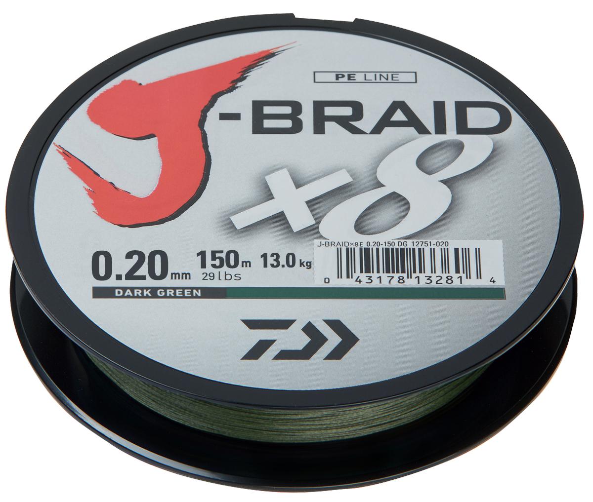 Леска плетеная DAIWA J-Braid X8 0,20мм 150м (зеленая)Леска плетеная<br>Новый J-Braid от DAIWA - исключительный шнур с <br>плетением в 8 нитей. Он полностью удовлетворяет <br>всем требованиям. предьявляемым высококачественным <br>плетеным шнурам. Неважно, собрались ли вы <br>ловить крупных морских хищников, как палтус, <br>треска или спйда, или окуня и судака, с вашим <br>новым J-Braid вы всегда контролируете рыбу. <br>J-Braid предлагает соответствующий диаметр <br>для любых техник ловли: море, река или озеро <br>- невероятно прочный и надежный. J-Braid скользит <br>через кольца, обеспечивая дальний и точный <br>заброс даже самых легких приманок. Идеален <br>для спиннинговых и бейткастинговых катушек! <br>Невероятное соотношение цены и качества! <br>-Плетение 8 нитей -Круглое сечение -Высокая <br>прочность на разрыв -Высокая износостойкость <br>-Не растягивается -Сделан в Японии<br>